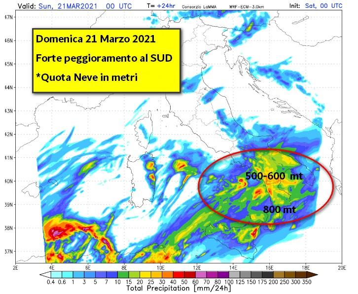 Domenica 21 Marzo 2021 - Forte peggioramento al sud